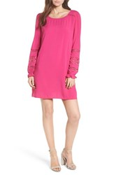 Hinge Lace Trim Puff Sleeve Shift Dress Pink Berry