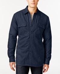 Club Room Solid Twill Sherpa Lined Shirt Jacket Only At Macy's Navy Blue Heather