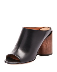 Givenchy Calf Leather Mule Pump Black Brown Black Tech Brown
