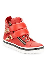 Giuseppe Zanotti Leather And Goldtone Metal Puffy Strap High Top Sneakers Fiamma