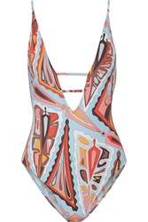 Emilio Pucci Cutout Printed Swimsuit White