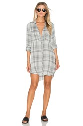 Bella Dahl Whitehaven Flannel Plaid Hipster Dress Gray