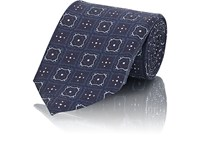 Fairfax Medallion Print Silk Twill Necktie Navy