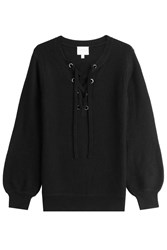 Claudia Schiffer Wool Pullover With Lace Up Front Black