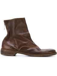 Guidi Back Zip Ankle Boots Brown