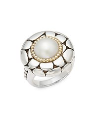 Effy 10Mm White Cultured Mabe Pearl 18K Yellow Gold And Sterling Silver Ring