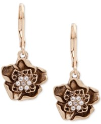 Lonna And Lilly Gold Tone Crystal Flower Drop Earrings