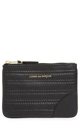 Men's Comme Des Garcons Embossed Leather Top Zip Pouch Wallet
