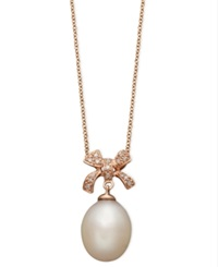 Effy Collection Pearl Necklace 14K Rose Gold Cultured Freshwater Pearl And Diamond Accent Bow Pendant Black
