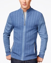 Tasso Elba Ribbed Full Zip Sweater Only At Macy's Classic Blue