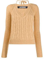 Jacquemus Layered Cable Knit Sweater Neutrals