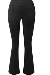 Helmut Lang Cropped Stretch Jersey Flared Pants Black