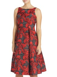 Adrianna Papell Petite Sleeveless Floral Jacquard Tea Length Dress Black Crimson