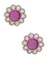 Sterling Silver Ruby And Cz Stud Earrings Red