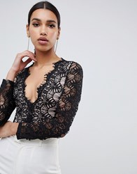 Rare London Bodysuit With Scalloped Lace Detail In Black