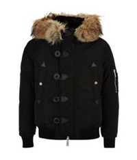 Dsquared Coyote Rabbit Lined Hooded Jacket Black
