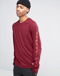 Hype Long Sleeve T Shirt With Arm Print Red