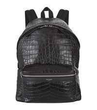 Saint Laurent Croc Embossed Leather Backpack Unisex Black