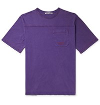 Acne Studios Edwin Logo Embroidered Acid Washed Cotton Jersey T Shirt Purple