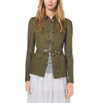 Michael Kors Crushed Cotton Cargo Jacket Juniper