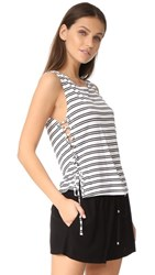 Bb Dakota Jack By Loren Stripe Lace Up Side Tank Bright White