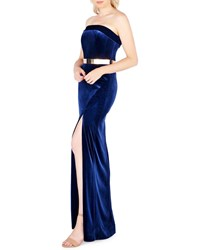 Mac Duggal Strapless Velvet Gown With Thigh Slit And Golden Belt Midnight Blue