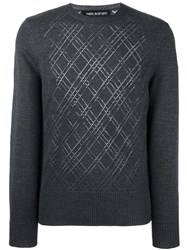 Neil Barrett Open Knit Effect Jumper Grey