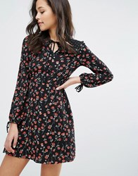 Miss Selfridge Floral Cut Out Neck Tea Dress Grey Floral Multi