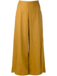 Simon Miller Wide Leg Cropped Pants Women Linen Flax 0 Brown