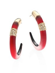 Alexis Bittar Lucite Pave Station Hoop Earring 1.5 Red