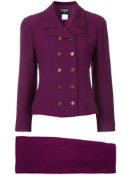 Chanel Vintage Logo Double Breasted Skirt Suit Pink And Purple