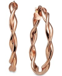 Macy's Twisted Hoop Earrings In 18K Rose Gold Plated Sterling Silver