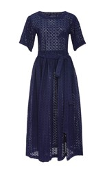 Lisa Marie Fernandez Short Sleeve Navy Eyelet Midi Dress