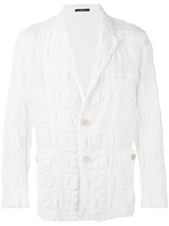 Issey Miyake Textured Blazer Men Cotton Linen Flax 3 White