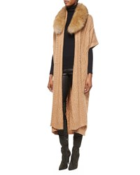 Alice Olivia Klay Long Cable Knit Cardigan W Detachable Fur Collar Size S Brown Camel