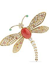 Fred Leighton Contemporary 18 Karat Gold Multi Stone Brooch