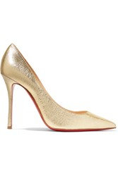 Christian Louboutin Decoltish 100 Textured Leather Pumps Gold