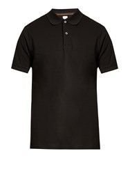 Paul Smith Smiley Embroidered Cotton Polo Shirt Black