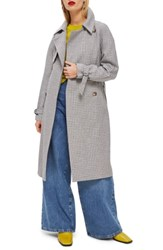 Topshop Angie Trench Coat Grey Multi