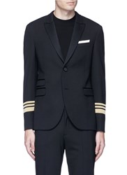 Neil Barrett Stripe Cuff Slim Fit Tuxedo Blazer Black