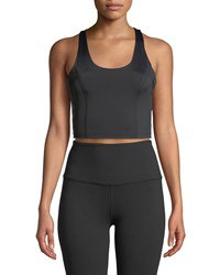 Beyond Yoga Down The Line Compression Cropped Tank Black