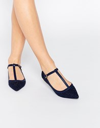 Oasis T Bar Point Sparkle Flat Shoe Navy