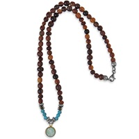 Platadepalo Classic Necklace Buffalo Horn And Turquoise Black Green Blue