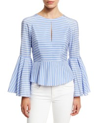 Milly Luna Striped Bell Sleeve Peplum Blouse Sky