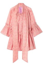 Yvonne S Angelica Ruffled Floral Print Linen Tunic Bubblegum