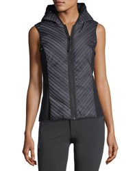 Blanc Noir Chevron Reflective Mesh Hooded Zip Front Vest Black