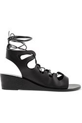 Ancient Greek Sandals Antigone Lace Up Leather Wedge Black