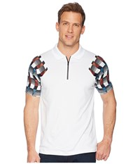 Perry Ellis Pe360 Active Printed Zip Polo Bright White Clothing