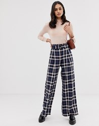 Miss Selfridge Wide Leg Trousers With Belt In Blue Check
