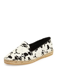 Cole Haan Palermo Lace Espadrille Loafer Black White